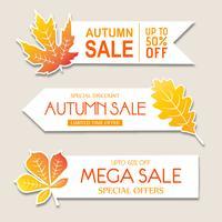 Schöne Aquarell-Herbstfahnen Sammlung