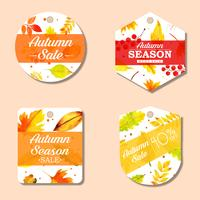 Hermosa colección de etiquetas de otoño de acuarela