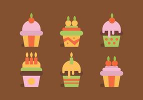 Färgglada uppsättning muffins