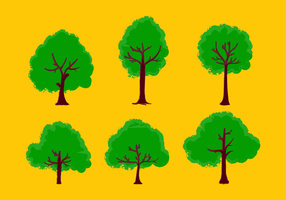 Set of Green Trees on Yellow Background