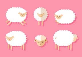 Cute Set of Sleeping Sheep on Pink Background