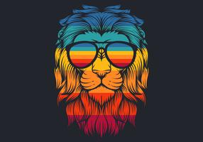 lion with retro eyeglasses vector illustration
