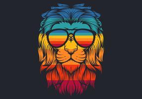 Leão com ilustração em vetor retrô óculos