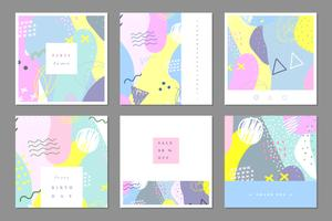Set van abstracte multifunctionele kaartsjabloon
