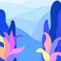 Paisagem, ilustração, com, plantas