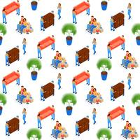 Porteiros Carry Furniture Seamless Pattern