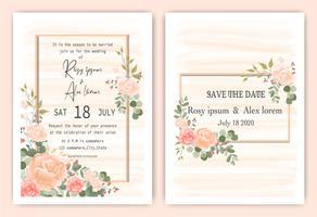 Invitación dibujada a mano marco floral rosa