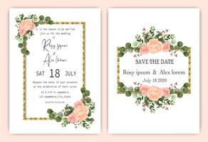 Elegant rose wreath wedding invitation card