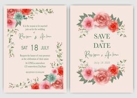 Pink Floral hand drawn wedding frame invitation vector