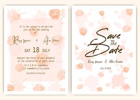 Rose scattered wedding invitation card