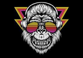 retro gorilla wearing headphones