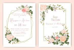 Save the date floral wedding invitation card