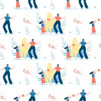 Seamless Pattern with Happy Father and Daughter vector