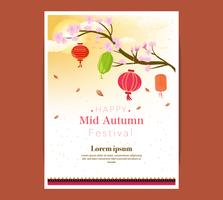 Chuseok lantern banner design.persimmon tree on full moon view background.