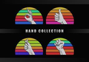 mãos fazendo sinais na frente do pôr do sol retro