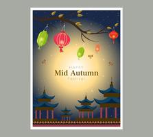 Diseño de banner de linterna china Chuseok
