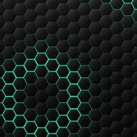 Black and green hexagonal technology pattern design