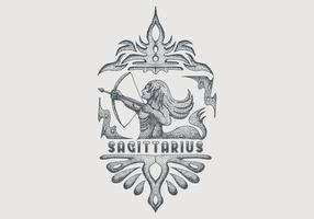 vintage sagittarius zodiac sign