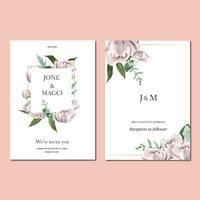 Lente uitnodigingskaart met bloemen esdoorn en bladeren