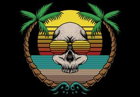 retro skull and beach scene