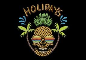 skull pineapple with holidays text