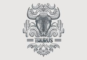 Vintage Taurus zodiac sign vector