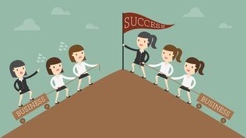 Business women reaching goal
