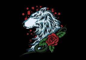 wolf head with rose