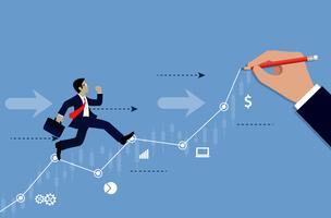 Businessmen run on chart graph line