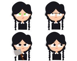 Funny Grumpy Girl Character Set