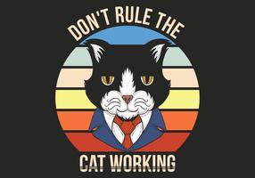 gato retro en traje vector