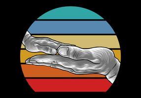 Mãos de família em estilo Retro
