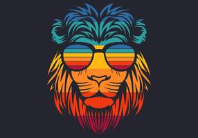 retro lion head wearing eyeglasses