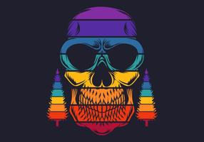Retro colorful skull with pine trees