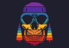 Retro kleurrijke schedel met pijnbomen