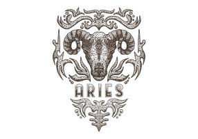 Vintage Zodiac aries sign
