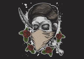 Skull with bandana over mouth and dagger vector