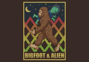 retro bigfoot & alien