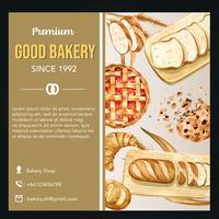 Plantilla de redes sociales de panadería vector