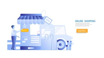 online shopping concept, man shopping on smartphone