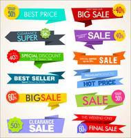 Coleção moderna de adesivos e banners