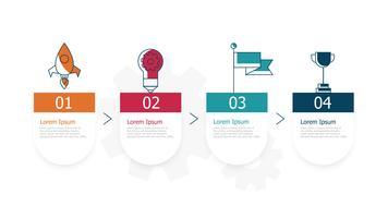 horizontal timeline infographics 4 steps for business