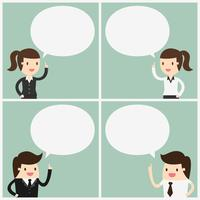 Business people with speech bubbles set