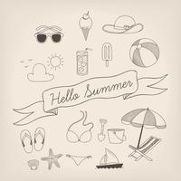 Insieme di estate disegnata a mano
