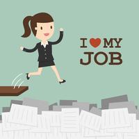 Mulher negócio, pular, em, paperwork