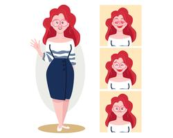 Rood hoofd vrouwelijk karakter