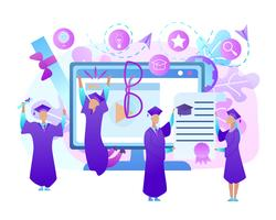 Happy Young People in Gown Celebrate Graduation vector