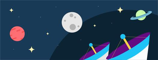 Satélites e planetas flutuando no espaço