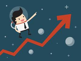 Bedrijfs mens die in ruimte met de groeipijl drijft