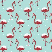 Christmas pattern with flamingo under the snow